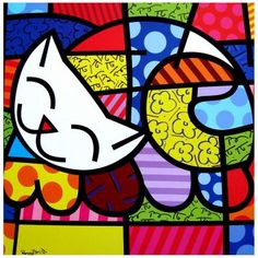 Happy Cat by Romero Britto