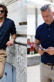 For my man. If You're Thinking About……The Perfect Summer Outfit for A Man « The Sartorialist The Sartorialist, Beige Chinos, Dark Blue Shirt, Look Man, Men Street, Well Dressed Men, Facon, Mode Inspiration, Look Cool