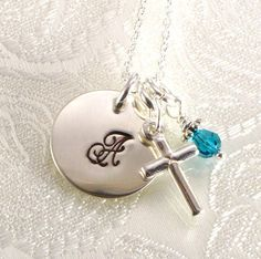 Monogrammed Cross Necklace  Personalized by dlnexpressionjewelry, $29.50