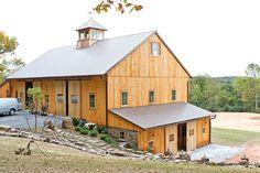 Cantilevered Bank Barn: Woodbine, MD - B&D Builders Log Home Plans, Barn Plans, Metal Building Homes, Building A House, Plan Garage, Barn With Living Quarters, Bank Barn, Barn Renovation, Barns Sheds