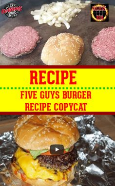 Five Guys Burger Recipe - This hamburger recipe is going to blow your mind. Five Guys Burger Recipe – This hamburger recipe is going to blow your mind…I mean who doesn& love a Five Guys Burger? Five Guy Burgers, Burger And Fries, Beef Burgers, Veggie Burgers, Best Grilled Burgers, Grilled Hamburgers, Homemade Hamburgers, Mini Burgers, Hamburgers On The Grill