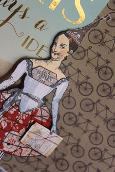 Artwork by Jackie Peters working with the Paris Flea collection of art stamps from Character Constructions.
