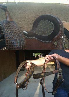 Louis Vuitton Tack....holy crap ($6k just for the saddle) Barrel Racing Saddles, Barrel Saddle, Horse Saddles, Horse Gear, My Horse, Horse Show Mom, Tack Sets, Western Horse Tack, Horse Accessories
