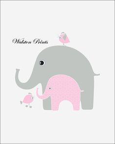 Elephant clip art, pink and gray elephant clipart, linen ...