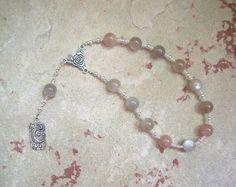 Nyx Pocket Prayer Beads in Moonstone: Greek Goddess of the Night by HearthfireHandworks on Etsy