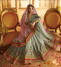 Pink & Grey latest Indian half and half sadi with floral embroidered blouse