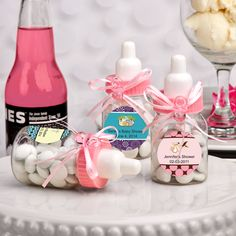 Personalized Pink Baby Bottle Favors