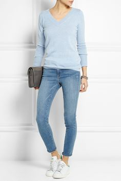 J.CREW Collection cashmere sweater FRAME DENIM Le Skinny de Jeanne Crop mid-rise jeans KARL LAGERFELD K/Chain leather and suede shoulder bag