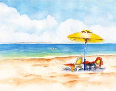 Watercolor painting Two Beach lounge chairs under an umbrella by CarlinArtWatercolor artist Carlin Blahnik