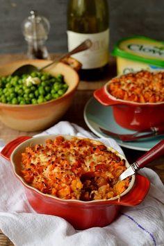 Vegetarian lentil cottage pie with garlic butter sweet potato mash - Domestic Gothess