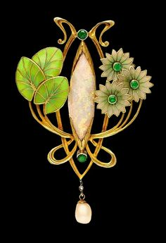Art Nouveau opal, pearl and emerald enamel brooch.