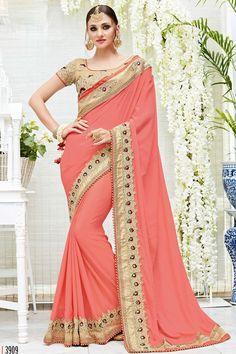 Peach Designer Wedding Wear Saree With Heavy Lace Border Patang Catalog 3909