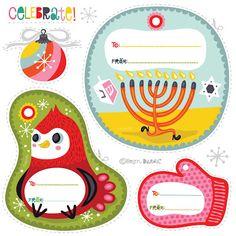 Free printable winter holiday and Hanukkah gift tags by Helen Dardik