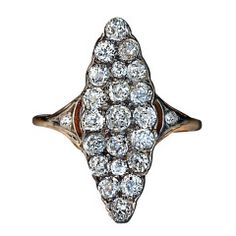 Antique Russian Marquise Shaped Diamond Cluster Ring