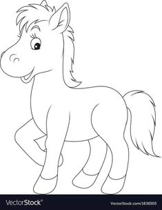 Foal vector image on VectorStock Art Drawings For Kids, Art Drawings Sketches Simple, Drawing For Kids, Animal Drawings, Easy Drawings, Farm Animal Coloring Pages, Easy Coloring Pages, Cartoon Coloring Pages, Coloring Books