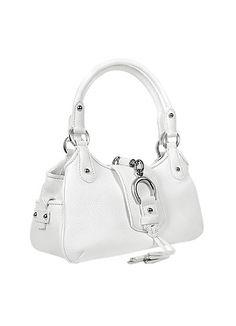 Buti White Pebble Italian Leather Horsebit Handbag