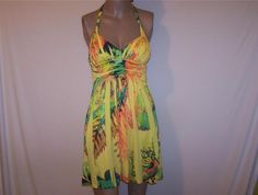 CITY TRIANGLES Halter Dress Yellow Sublimation Dye Stretch Sz S Juniors NWT #CityTriangles #Sundress #SummerBeach