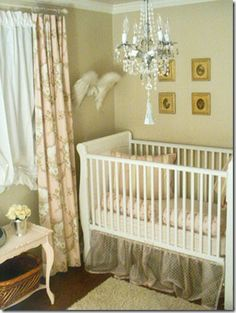 Southern Belle nursery. I don't like the chandelier being over the crib though.