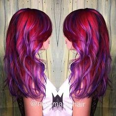 20 Photos That Prove Sunset Color Is the Most Romantic Kind of Rainbow Hair - phoenix hair (fire/sunset/pink/red/orange/yellow/purple) - Hair Designs Red Ombre Hair, Ombre Hair Color, Cool Hair Color, Funky Hair Colors, Purple Balayage, Purple Highlights, Funky Hairstyles, Pretty Hairstyles, Hairstyles Haircuts