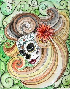 Day of the Dead watercolor and ink painting.