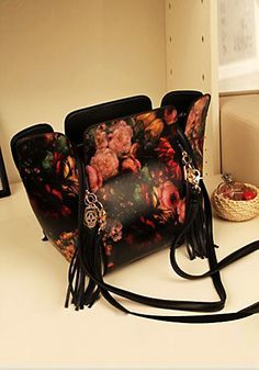 Floral Skull Tassel PU - Awesome PU Leather Bag