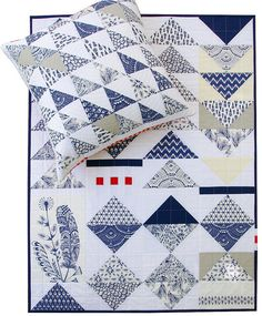 Bengal by Hawthorne Threads | Pillow and Quilt by Red Pepper Quilts; OMG!  I've always loved blue and white together!!