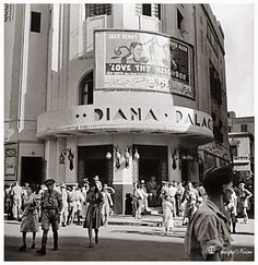 Crowd outside the Diana Palace movie theater composed mainly of Allied servicemen on leave from the fighting in the deserts of North Africa. Get premium, high resolution news photos at Getty Images