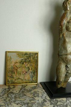 アンティーク ゴブラン織り額絵(リュート) French Antique Gobelin Tapestry