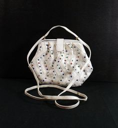 SHARIF White Leather and Stone Shoulder Bag by KatsCache on Etsy Vintage  Purses 126acead389aa