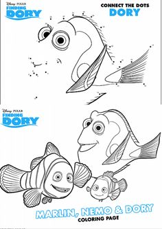 AH! FREE Disney Pixar Finding Dory Nemo Coloring Pages, Connect the Dots (Dot to Dot) Activity set, and even a maze! LOVE! Perfect for under the sea ocean & Disney parties or road trips to Walt Disney World!