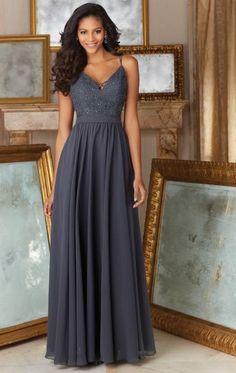 Modest Grey Long Bridesmaid Dress BNNDE0009-Bridesmaid UK