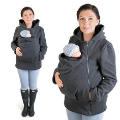 BASIC Baby carrier hoodie Kangaroo coat/jacket for Mom and baby, baby wearing hoodie  Size GRAY NP12
