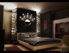 Bedroom. Attractive Modern Bedrooms Ideas. Charming Modern Bedrooms Ideas Featuring Brown Leather Cover Bed With Bed End Table And Grey Pillow And Grey Fabric Blanket Together With Sunburst Mirror Decoration Also Black Stained Wooden Cupboard And Brown Varnished Wooden Wall In Cabinet As Well As Ceiling Lamp Also Red Mat And Style Wood Laminated Floor