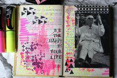 Get Messy Season of Happy Art Journal - Altered Book Art Journal