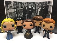"Dennis Gugin Custom Funko Pop! Vinyl Action Figures - Caroline, Damon, Elena, Stefan, and Klaus from the television series Vampire Diaries, as featured in the Mikaelson Ball Scene, in Season 3 Episode 14 ""Dangerous Liaisons""."