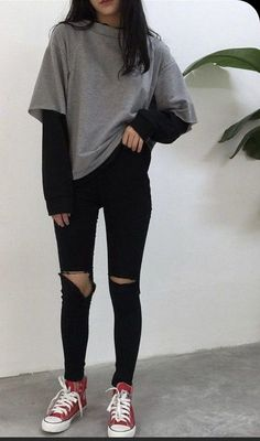 Summer School Outfits, Casual School Outfits, Edgy Outfits, Korean Outfits, Mode Outfits, Retro Outfits, Cute Casual Outfits, Simple Outfits For Teens, Soft Grunge Outfits