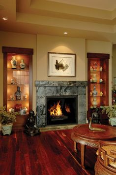 Town & Country - modern - Living Room - Sacramento - Rustic Fire Place