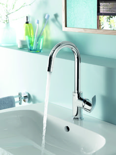 An elegant curved neck makes this single lever mixer a sleek, smart and practical choice for a modern bathroom. A Eurosmart basin mixer will be a pleasure to use time after time thanks to its superior engineering and ergonomics. #basin #mixer #single See more at http://www.grohe.co.uk/en_gb/bathroom-collection/mixer-taps-eurosmart.html
