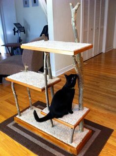 very cool scratching post/ cat tree. Simple enough to be doable.