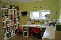 sewing room ideas - like the large IKEA shelf and lots of open counter space