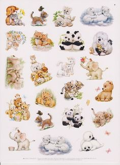 VTG*RUTH MOREHEAD ADORABLE ANIMALS LARGE STICKER SHEET 8X10 BY CURRENT