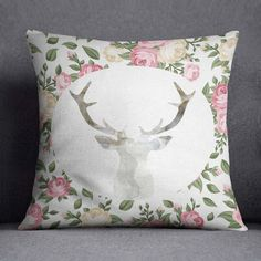Floral Throw pillow Deer Antlers Pillow Guest by RamonaBellaDesign