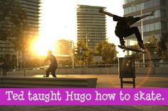 Nineteen Years Later - Teddy teaches Hugo to skateboard he also teaches Rose