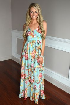 Fields of Freesias Maxi ~ Mint/Blue – The Pulse Boutique