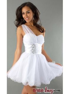 Buy Custom Made High Quality Gorgeous Princess One-shoulder Ruched Short White Homecoming Dress HD-9453 at wholesale cheap prices from Bridal-Buy.com