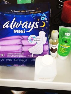 Padsicles - 1. Apply liberal layer of aloe vera all over pad (gel, not liquid concentrate) 2. Pour about a teaspoon of witch hazel {DIY} Padsicles, the must have postpartum item postpartum padsicles pads labor delivery  (make sure it's alcohol-free) over the aloe vera 3. Sprinkle on a few drops of lavender essential oil 4. Wrap each pad in tin foil and freeze for use in your early postpartum days