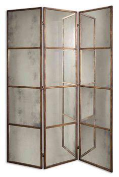 3-Panel Antiqued Gold Mirrored Folding Screen | Scenario Home  $833.80