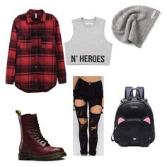 """""""Untitled #42"""" by emmachic2002 ❤ liked on Polyvore featuring Dr. Martens, Converse, men's fashion, menswear, plaid and WardrobeStaples"""