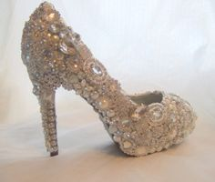 Cinderellas Wish... crystal, glass and pearl covered high heels. Wedding bespoke custom design By tlccreationsuk on Etsy