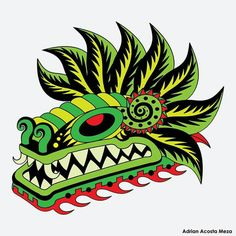 Quetzalcoatl Quetzalcoatl Vector, Quetzalcoatl Tattoo, Chicano Tattoos, Body Art Tattoos, Tattos, Snake Dragon, Mexican Colors, Feathered Serpent, Dragon Costume